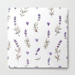 Simple pattern with lavender flowers Metal Print