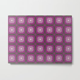 Plum, green and white tiles Metal Print