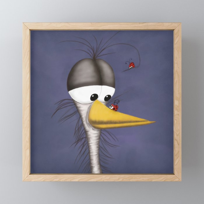 Ernie the Naked Egret and his Visitors Framed Mini Art Print