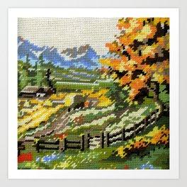 Found Tapestry Landscape Art Print