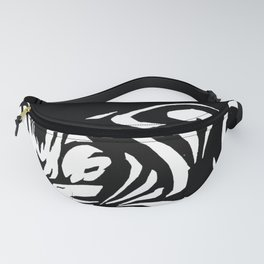 Minimal Art Happy Cat Black White Fanny Pack