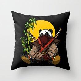 Panda Bear Ninja Samurai Throw Pillow