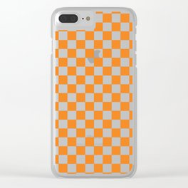 Orange Checkerboard Pattern Clear iPhone Case