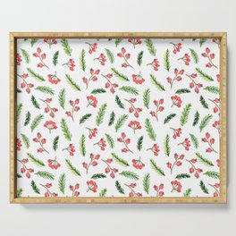 Bright Hand Drawn Christmas Mistletoe Pattern Serving Tray