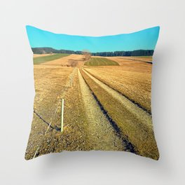 Hiking trail, blue sky and moon | landscape photography Throw Pillow