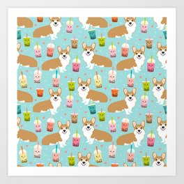 Corgi Bubble Tea design cute corgi pastel drinks food kawaii design Art Print