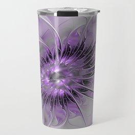 Lilac Fantasy Flower, Fractal Art Travel Mug