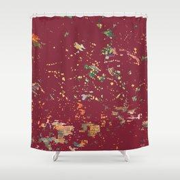 Cranberry Red Bohemian Fiber Art Shower Curtain