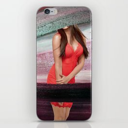 Woman in red clothes iPhone Skin