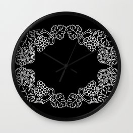 Abstract frame with bunches of grapes Wall Clock