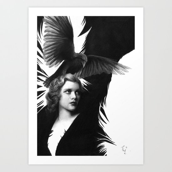 Lady and the Raven Art Print