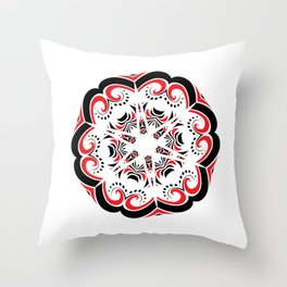 Floral Black and Red Round Ornament Throw Pillow