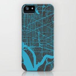 Washington map blue iPhone Case