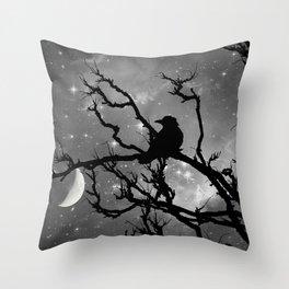 Black Bird Silhouette on Starry Night A492BW Throw Pillow