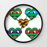 ninja turtle Wall Clocks featuring Ninja Turtle Hearts by Sam Skyler