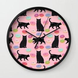 Black cat donuts cat breeds cat lover pattern art print cat lady must have Wall Clock