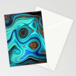 Glamour Marble Agate Lapislazuli With Gold Glitter Veins Stationery Cards