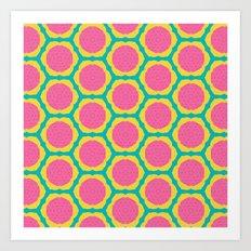 Abstract Pink and Yellow Pitaya Fruit Pattern Art Print