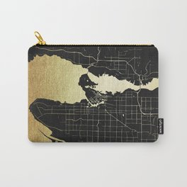 Vancouver Canada Black and Gold Map Carry-All Pouch