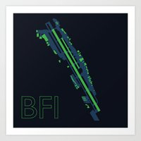 seahawks Art Prints featuring Boeing Field (BFI) - Seahawks by Kyle Rodgers