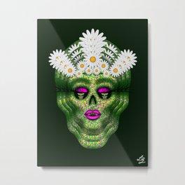 Flower Power Skull 4 Metal Print