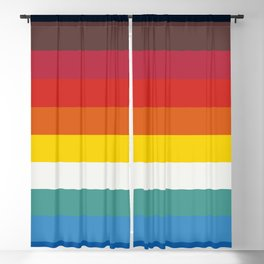 Multicolor Retro Stripes Trickster Blackout Curtain