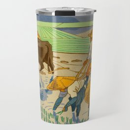 Asano Takeji Rice Transplantation Vintage Japanese Woodblock Print Asian Farmers Sedge Hat Travel Mug