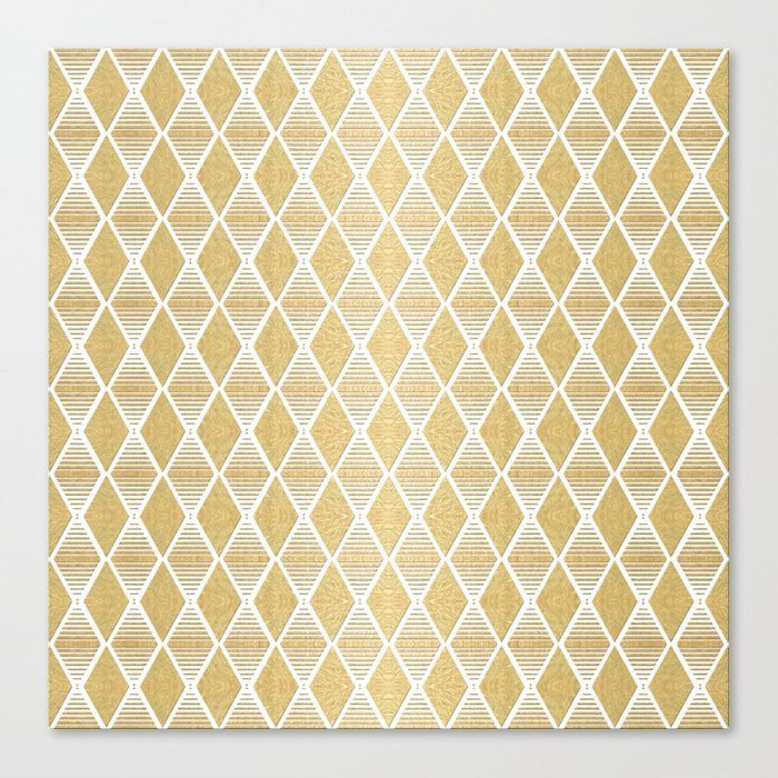 White and Gold Geometric Pattern Canvas Print