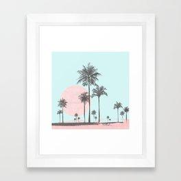 Beachfront palm tree soft pastel sunset graphic Framed Art Print