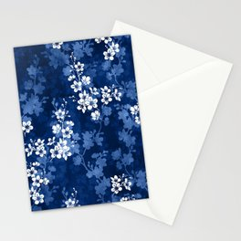 Sakura blossom in deep blue Stationery Cards