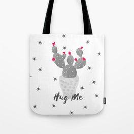 Hug Me Cactus in Pot Hearts Design Tote Bag