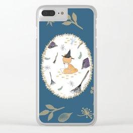 Blue Magical Fox Clear iPhone Case