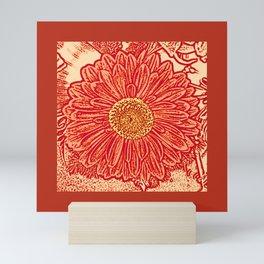 Gerbera Daisy Block Print, Mandarin Orange Mini Art Print