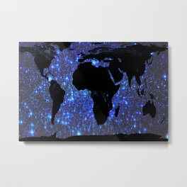 World Map : Blue Galaxy Stars Metal Print