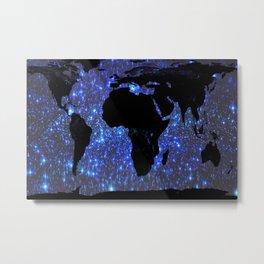 World Map : Blue Galaxy Stars Metal Print