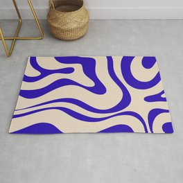 Modern Liquid Swirl Abstract Pattern Square in Cobalt Blue Rug