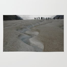 Glacial Stream and Hikers Rug