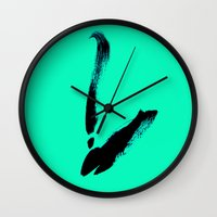 swan Wall Clocks featuring swan by berg with ice