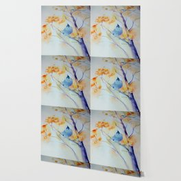 Nuthatch Aspen Morning Looking Up watercolour by CheyAnne Sexton Wallpaper