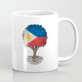 Vintage Tree of Life with Flag of Philippines Coffee Mug