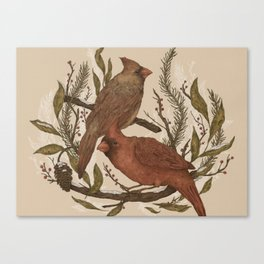 Wintery Cardinals Canvas Print