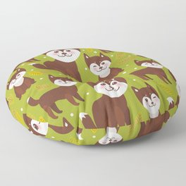 seamless pattern funny brown husky dog and leaves, Kawaii face with large eyes and pink cheeks Floor Pillow