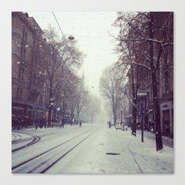 Zurich in a Blizzard Canvas Print