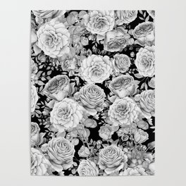 ROSES ON DARK BACKGROUND Poster