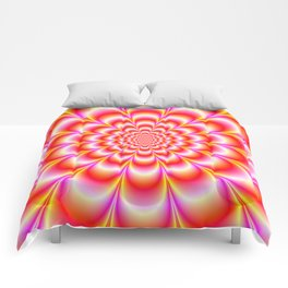 Rosette in Yellow Red White and Violet Comforters