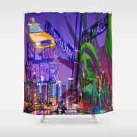 grafitti Shower Curtains featuring New York Collage by Bakmann Art