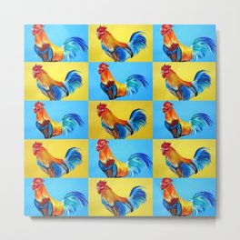 Rooster Collage with Happy Abstract Roosters Metal Print