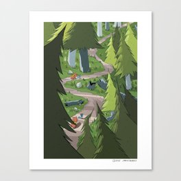Bird and Squirrel on the Edge! Canvas Print