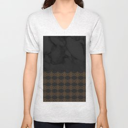 Black Marble with Bronze DecalPattern Unisex V-Neck