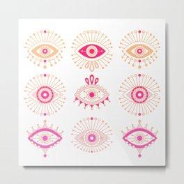 Evil Eyes – Pink Ombré Palette Metal Print